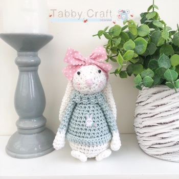 Floral Standing Bunny with Large Bow and Jumper - White, Teal and Pink
