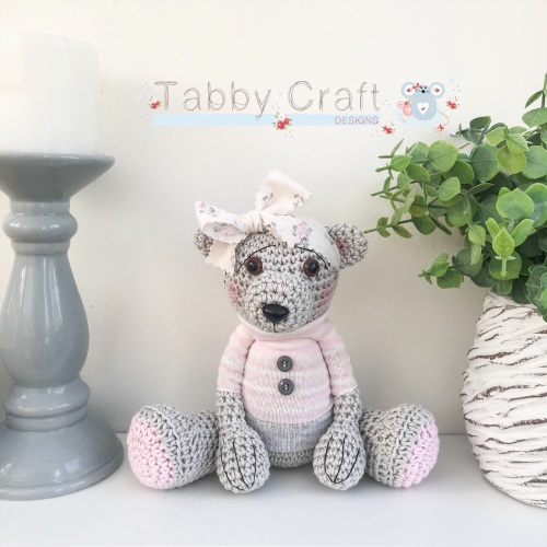 Large Floral Teddy Bear with Jumper - Grey, Ivory and Pink