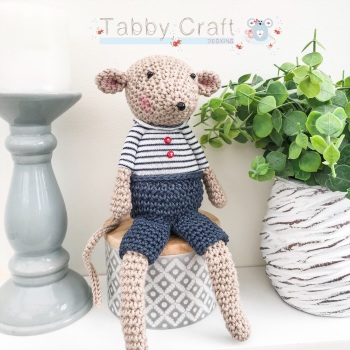 Sitting Mouse with Striped Jumper and Shorts  - Beige and Navy