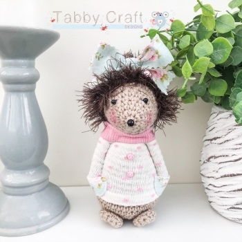 Standing Hedgehog with Large Bow and Spotty Jumper - Ivory, Pink and Duckegg