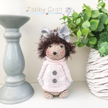 Standing Hedgehog with Large Bow and Heart Jumper - Pink and Grey