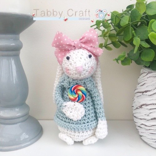 Standing Bunny with Large Bow and Lollipop  - White, Teal and Pink