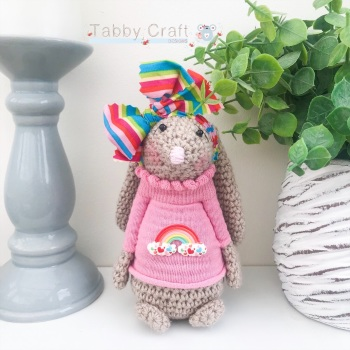 Standing Bunny with Large Rainbow Bow and Jumper - Rainbow