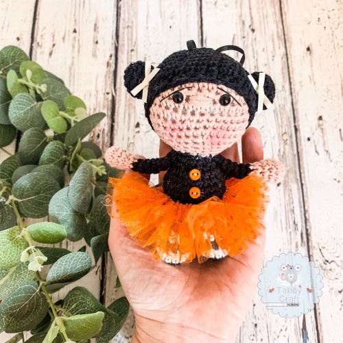 Hanging Halloween Girl with Tutu and Button Jumper!