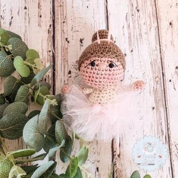 Hanging Ballerina Girl with Pink Tutu - Brown Hair