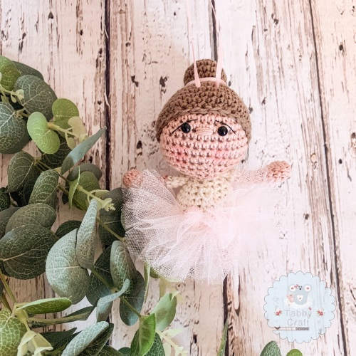 Hanging Ballerina Girl with Tutu - ivory and Pink