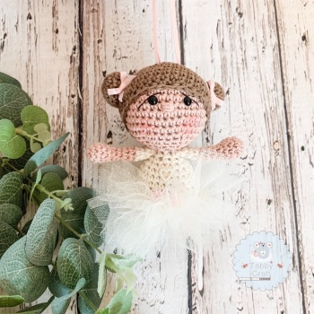 Hanging Ballerina Girl with Ivory Tutu - Brown Hair