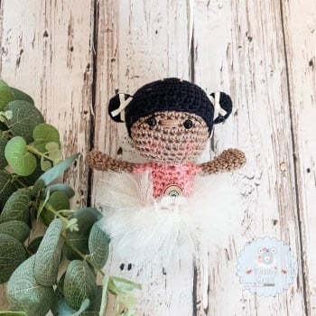 Hanging Ballerina Girl with Pink Tutu - Black Hair
