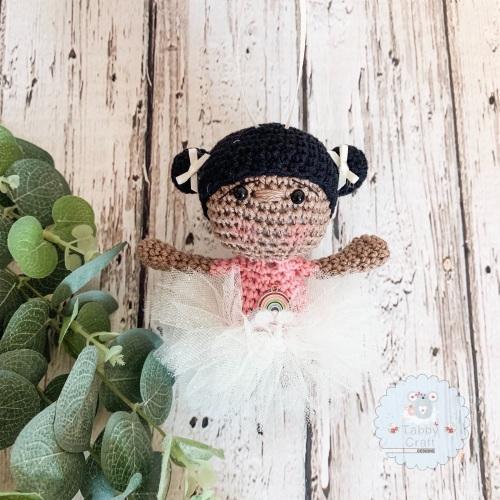 Hanging Ballerina Girl with  Pink Tutu - Black Hair