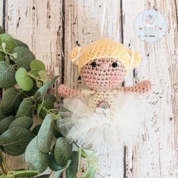 Hanging Ballerina Girl with Ivory Tutu - Blonde Hair