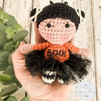 Hanging Halloween Girl with Black Tutu and Boo Jumper!