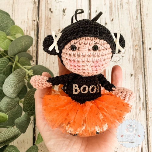 Hanging Halloween Girl with Orange Tutu and Boo Jumper!