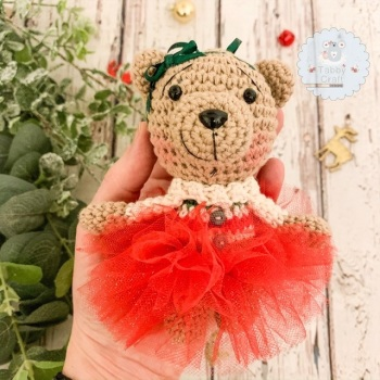 Hanging Christmas Tutu Bear with Stripy Jumper - Red, Green and Ivory
