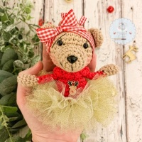 Hanging Christmas Tutu Bear with Red Jumper  - Red  and Gold