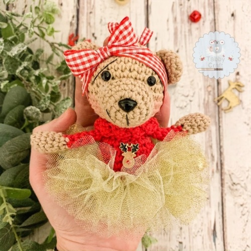 Hanging Christmas Tutu Bear with Red Jumper  - Red  and Ivory