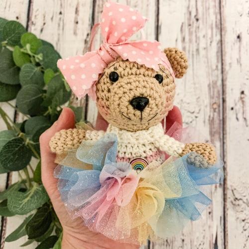 Hanging Rainbow Tutu Bear with Rainbow Tutu - Pink and Ivory