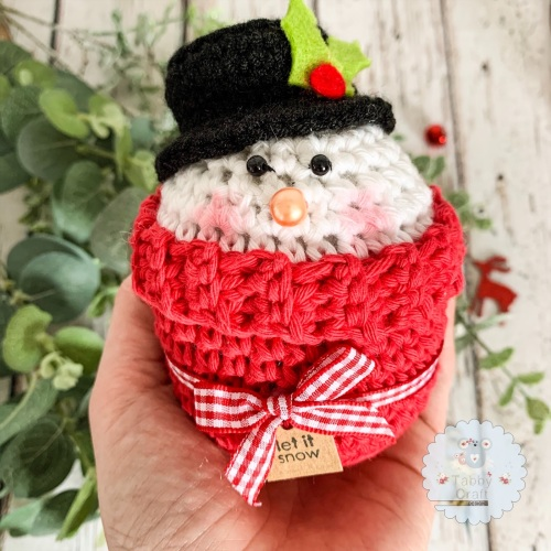 Christmas Snowman Peek-a-Boo Buddy - Red, White and Black