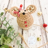 Small Christmas Gingerbread Mouse - Beige and Red
