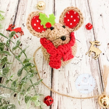 Pre-Order Christmas Scarf Mouse - Beige and Red
