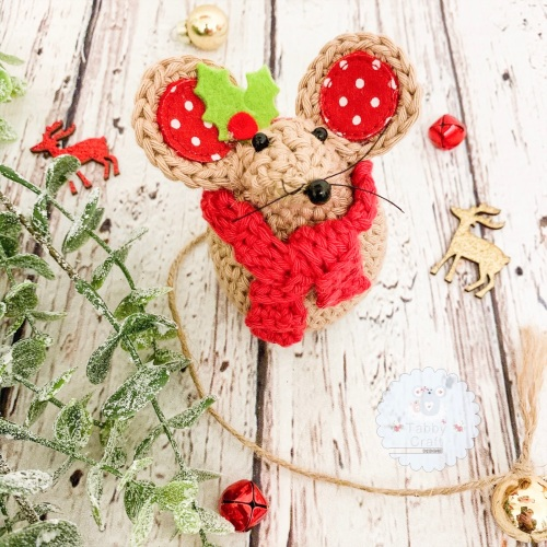Christmas Scarf Mouse - Beige and Red