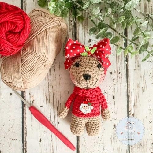 Hanging Christmas Santa Jumper Bear   - Red  and Beige
