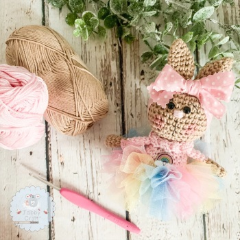 Hanging Rainbow Tutu Bunny with Rainbow Tutu - Pink and Ivory