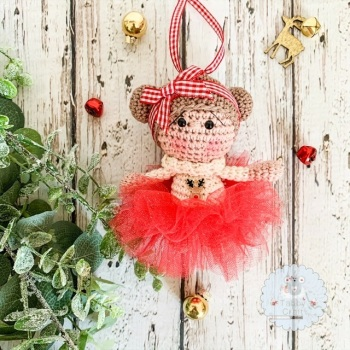 Hanging Christmas Tutu Girl with Brown Hair - Red and Ivory