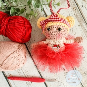 Hanging Christmas Tutu Girl with Blonde Hair - Red and Ivory