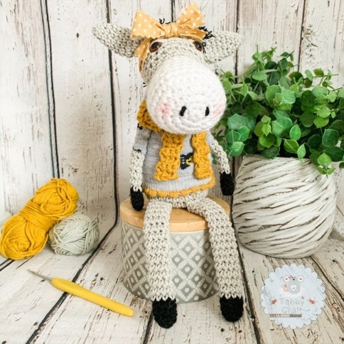 Sitting Donkey with Star Jumper - Grey and Mustard