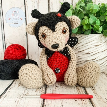 Large Ladybird Teddy Bear - Brown, Black and Red