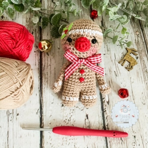 Hanging Christmas Gingerbread Man   - Red  and Beige