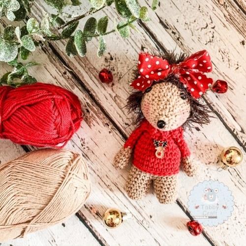 Hanging Christmas Rudolph Jumper Hedgehog   - Red  and Beige