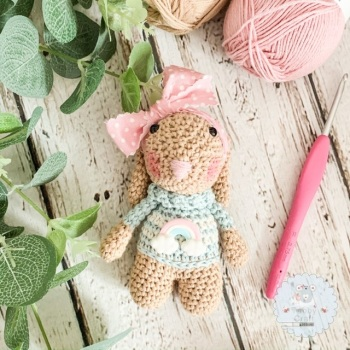 Bunny with Rainbow Jumper  - Pink and Blue