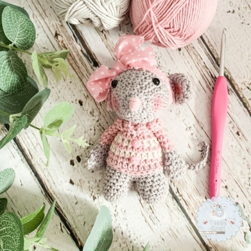 Mouse  with Button Jumper  - Pink and Cream
