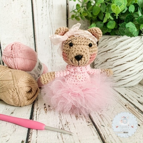 Tutu Bear with Pink Sparkly Tutu - Pink and Beige