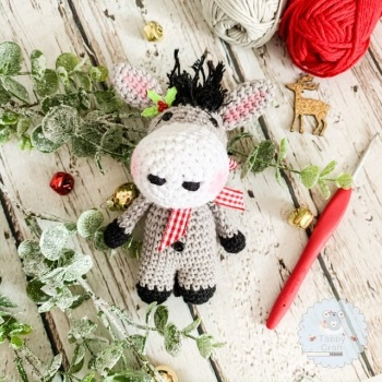 Pre-Order Christmas Donkey  - Grey and Red