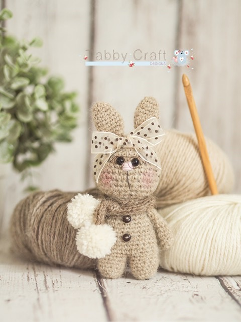 Little Bunny with Pom Pom Scarf and Glasses   - Beige and Cream