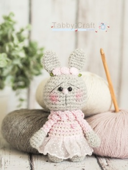 Little Bunny with Pink Tutu and Flower Hairband    - Grey and Pink