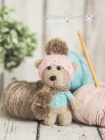 Little Bear with Pom Pom Hat and Scarf     -  Pink and Aqua