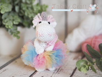 Little Unicorn with Rainbow Tutu    - White and Pink