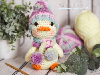 Large Duck with Pom Pom Hat and Scarf    - Lemon and Multi