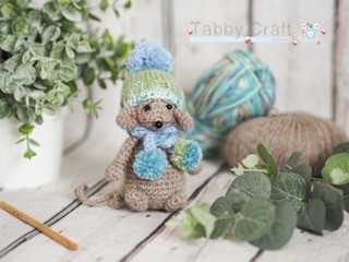Little Mouse with Pom Pom Hat and Scarf    - Brown and Blue  Multi