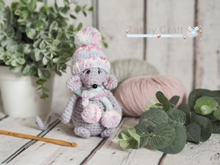 Little Mouse with Pom Pom Hat and Scarf    - Grey and Pink Multi