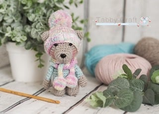 Pre Order - Little Bear with Pom Pom Hat and Scarf     -  Pink and Aqua