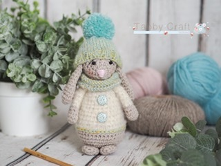 Little Bunny with Pom Pom Hat and Scarf    - Beige, Cream and  Mint