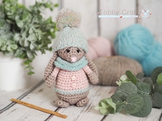 Little Bunny with Pom Pom Hat and Scarf    - Beige, Peach and  Mint