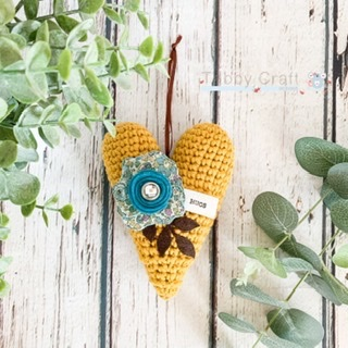 Hanging Hugs Heart with Liberty Flower -  Mustard and Teal