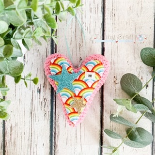 Hanging Rainbow Hi Heart with Glitter Stars  -  Pink and Multi