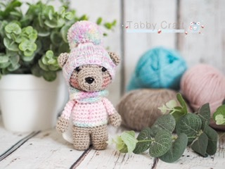 Pre Order - Little Bear with Pom Pom Hat and Button Jumper     -  Pink and Aqua