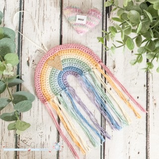 Pre-Order Hanging Flat Rainbow Decoration with Glitter Heart - Pastel